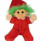 Russ Troll Plush Doll Jangles Green Hair Soft Body Sculpture Red Pajamas Large
