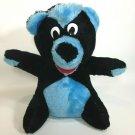 "Acme Teddy Bear Plush Vintage 1986 Black Blue Stuffed Animal in Korea 10"""