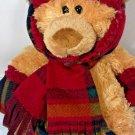 "Hugfun Teddy Bear Brown Stuffed Plush Burgundy Plaid Scarf Gloves Hat 17"" Toy"