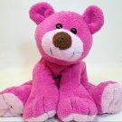 "RARE Commonwealth Teddy Bear Pink Berry Floppy Stuffed Animal Plush Beanie 9"""