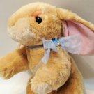 "Commonwealth Plush Bunny Rabbit Floppy Ears Brown Stuffed Animal Blue Bow 10"""
