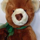 """Commonwealth Teddy Bear Plush Large 18"""" Brown Grizzly Green Bow 2003 Soft Toy"""