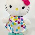 "Hello Kitty Cat Plush Sanrio White Stuffed Animal Polka Dot Dress Red Bow 7"""