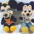 Disney MICKEY & MINNIE Mouse Plush Walt Disneyland Stuffed Dolls - Lot of 2