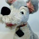"Vintage Disney Tramp Plush Dog Grey Stuffed Animal Metal Tag 14"" Cocker Spaniel"