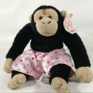 "Aurora Rascals Plush Monkey Chimp Look of Love Pink Satin Shorts 10"""