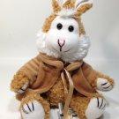 "Chrisha Playful Plush Bunny Rabbit Brown White Stuffed Animal Jointed Legs 9"""