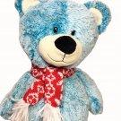 RARE HTF  Animal Adventure Teddy Bear Aqua Blue Plush Stuffed Animal Red Scarf