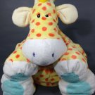 First & Main Giraffe Large Plush Yellow Orange Polka Dots Cream Puff Pillow 18""