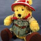 "Disney Safari Winnie Pooh Bear Plush Large 12"" Stuffed Animal Red Bandanna Hat"
