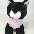 """Animal Alley Black Cat Soft Plush Green Eyes Pink Curly Vest 2000 Toys R Us 6"""""""