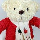 "Hallmark JINGLE BEAR Plush Cream Holiday Teddy Stuffed Red Sweater Bells 12"""