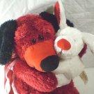 """Dan Dee Happy Couple Puppy Dog Plush Collectors Red White Valentine Love 12"""""""
