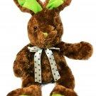 "Bunny Rabbit Plush Atico Brown Green Stuffed Animal Hare Polka Dot Bow Toy 12"""