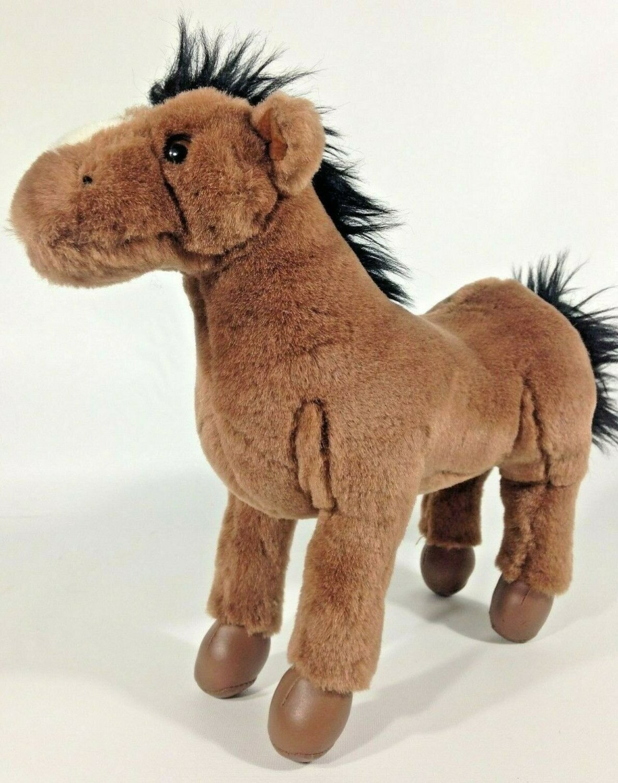 "Gund Plush Brown Horse Standing Pony Stuffed Animal Vinyl Feet Bendable Legs 10"""