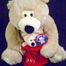 "Chosun Plush Teddy Bear Soft Momma Baby Cub Holiday 1997 Beanbag Sack Large 15"""