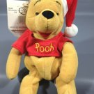 "Winnie Pooh Bear Plush Mini Bean Bag Disney Store 8"" Stuffed Toy Santa Hat"
