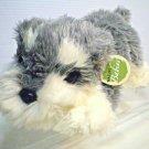 "Aurora Natures Babies Schnauzer Puppy Dog Plush Grey Silver White TAG 10"""