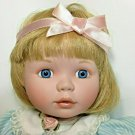 Ashton-Drake Galleries Blonde Girl Blue Pinstriped Dress Pink Bow Baby Bear 1996