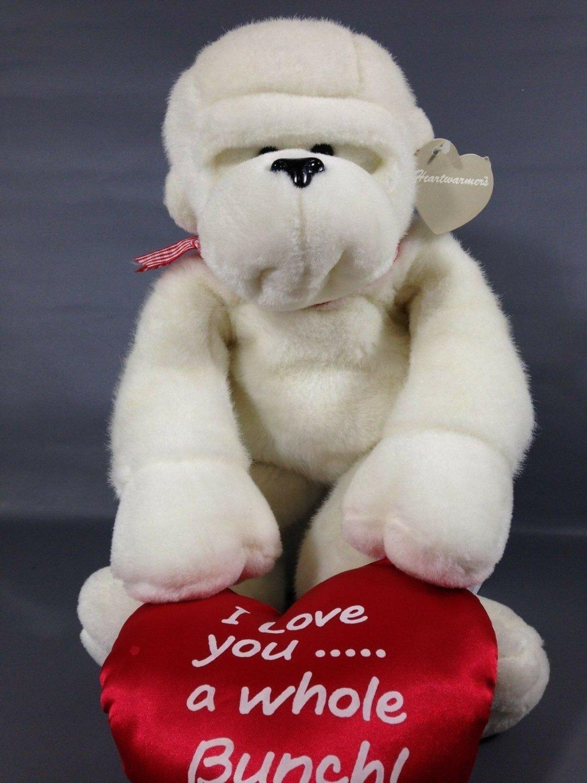 White Monkey Plush Chimp Carlton Cards RARE Heart Warmers I love You Red Pillow