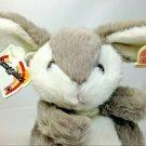 "Heartline Snuggables Bunny Rabbit Sarah Grey White Soft Furry Stuffed Animal 8"""