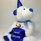 "Happy Birthday Teddy Bear Plush Polar Cub Celebration Blue White Petting Zoo 8"""