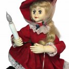 """Vintage 1993 Animated Red Velvet Lady Holiday Girl Victorian Styled Lighted 27"""""""