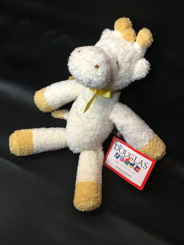 RARE HTF Baby Yellow Giraffe Lovey Rattle Plush Toy Ribbon Douglas Cuddle Toys