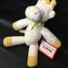 RARE HTF Baby Yellow Giraffe Lovey Rattle Plush Toy Ribbon Douglas Cuddle Toys