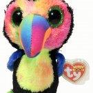 Ty Beanie Boos Beaks Toucan Bird Plush Colorful Rainbow Colors 6in. NWT