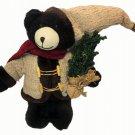 Christmas Holiday Plush Black Bear Handmade Stuffed Animal Red Scarf Knit Hat