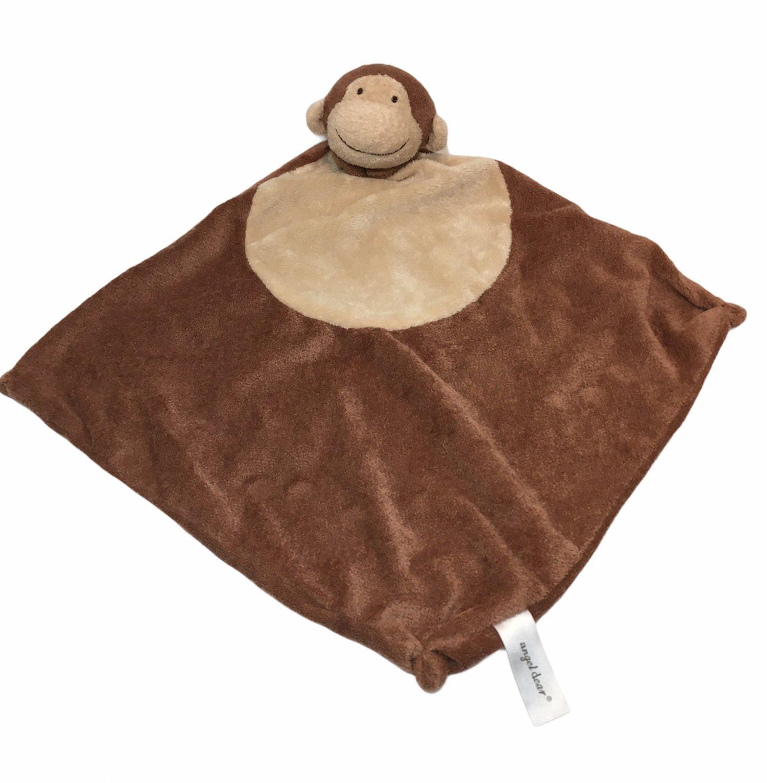 "Angel Dear Brown Monkey Plush Velour Baby Crib Security Blanket Lovey Beige 18"""