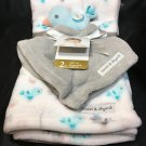 NEW Blankets & Beyond Blue Pastel Bird Plush Gray Security Blanket Chick NWT