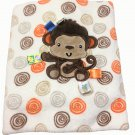 "Taggies Monkey Fleece Baby Blanket Swirls Spirals Lovey Satin Tags 30"" x 40"""