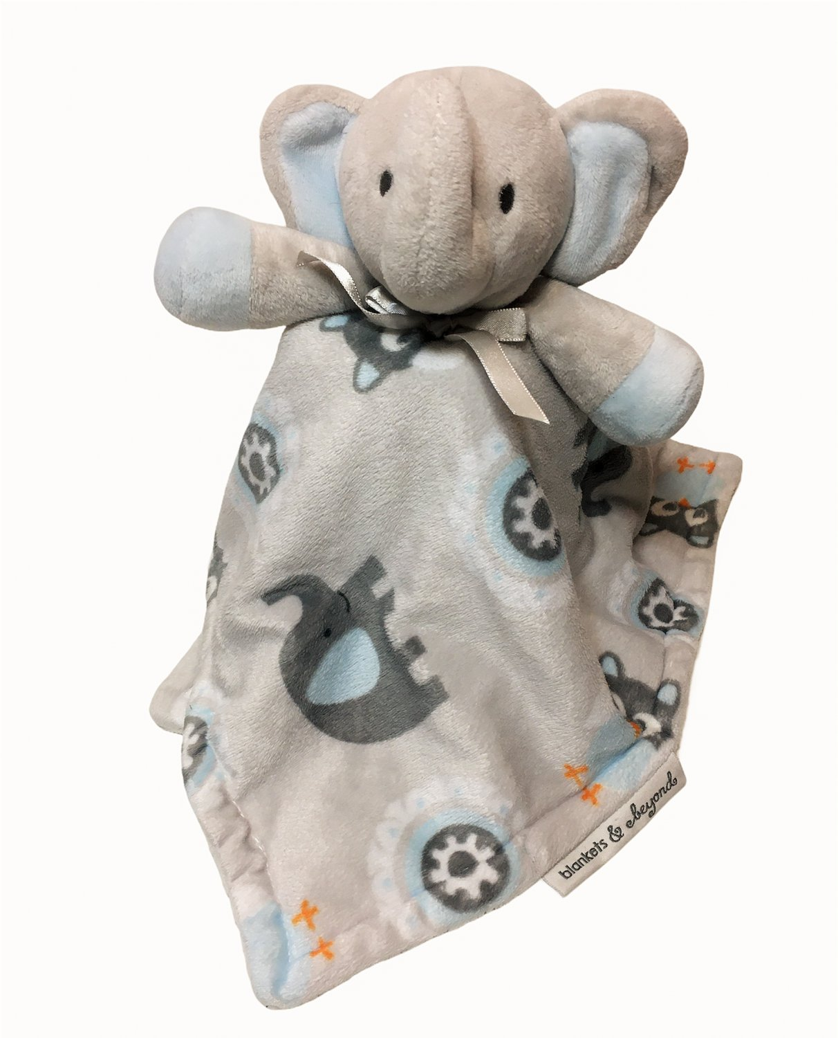 """Blankets and & Beyond Elephant Owl Blue Gray Baby Blanket Security Lovey 14"""""""