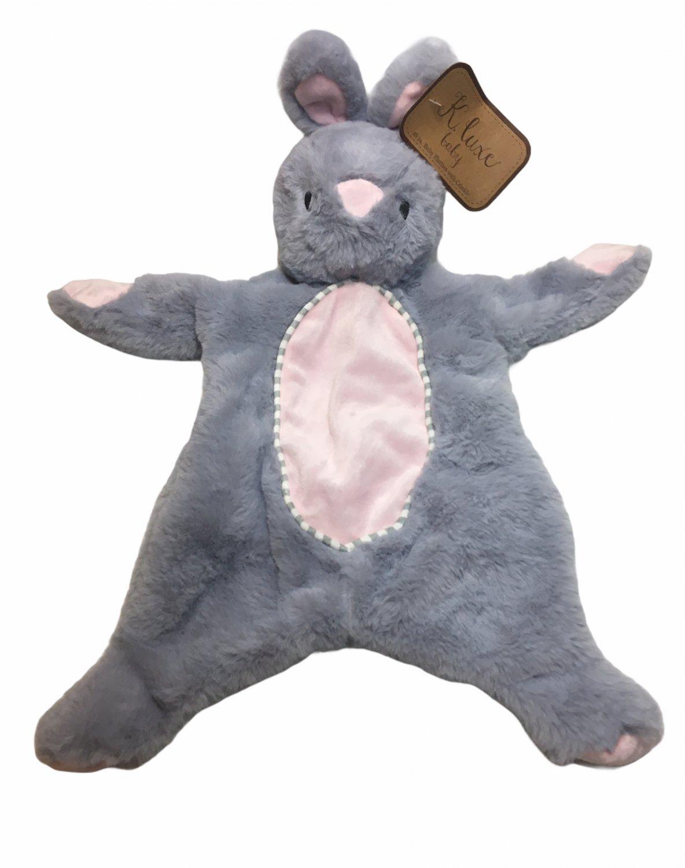K Luxe Flatties Baby Bunny Rabbit Gray Plush Crinkle Rattle Security Toy NEW
