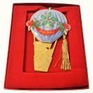 Lenox Across The Miles Hot Air Balloon Ornament Gold Color Ceramic & Tassel BOX