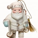 "Lenox 2001 ""Santa's Downhill Delivery"" Skis Ornament Figurine Ivory 24k Gold"
