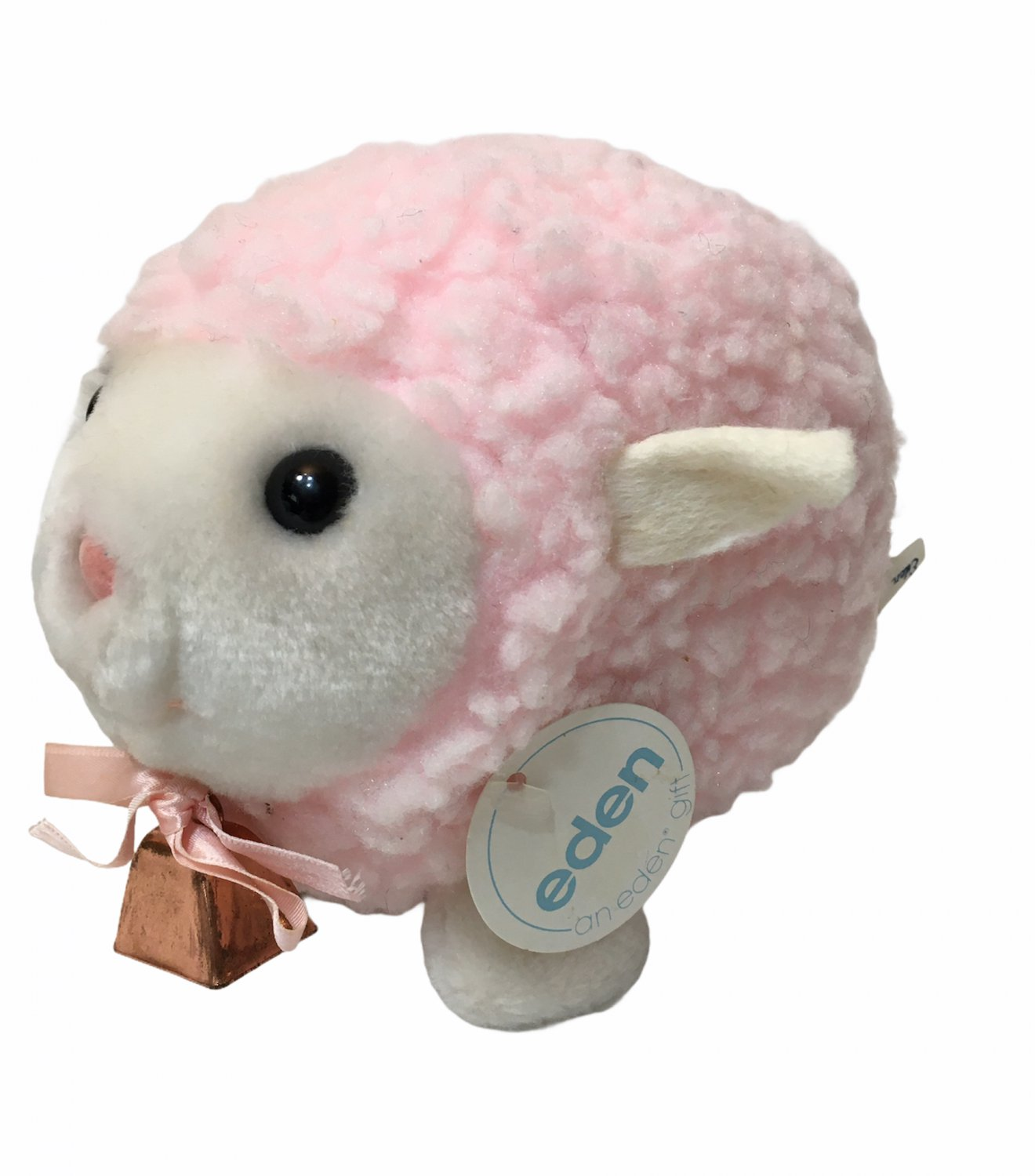 Eden Toys Lamb Sheep Pink Plush Stuffed Animal Vintage Bell Baby Toy Bow 7""