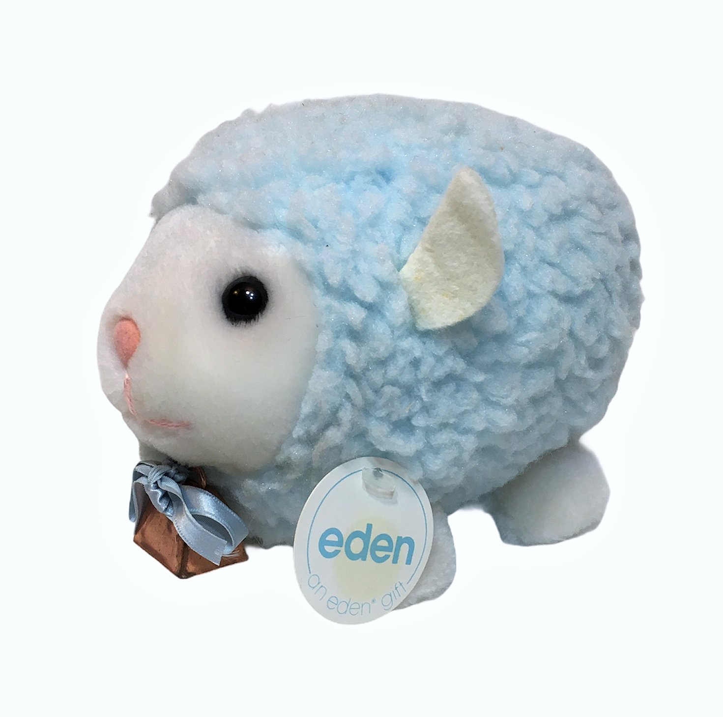 Eden Toys Lamb Sheep Blue Plush Stuffed Animal Vintage Bell Baby Toy Bow 7""