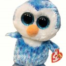 TY Beanie Boos ICE CUBE Penguin Plush Bean Bag 2014 TAGS 6in Blue Sparkle Eyes