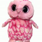 TY Beanie Boo PINKY Owl Plush Pink Glitter Eyes Stuffed Animal Toy 6in ~ No Tags