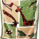 Kidsline Jungle Safari Fleece Blanket Alligator Bird Giraffes Turtle Green Trim