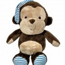 Carters Baby Monkey Musical Crib Pull Toy Child of Mine Blue Striped Brown Plush
