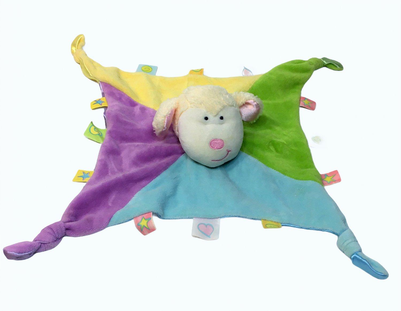 """Little Kids Preferred Baby Lamb Finger Puppet Label Loveys Blanket 14""""x14"""""""