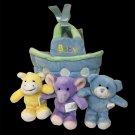 Burton Noah Ark Baby Basket Plush Toy Bear Horse Elephant Rattle Squeakers