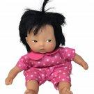 RARE Corolle Asian Baby Doll Les Minis Mini 8in. Beanbag Body White Polka Dots