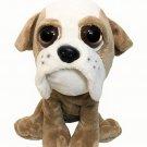 "Petting Zoo Plush Bulldog Boxer Tan White Big Eyes 10"" Stuffed Animal Toy Puppy"