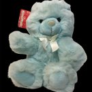 "King Plush Teddy Bear Pastel Blue Soft Doll Stuffed Animal TAG 12"" White Ribbon"