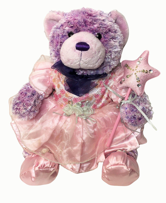 Build a Bear Nikki II Purple Plush in Ballerina Outfit BABW Tutu & Star Wand